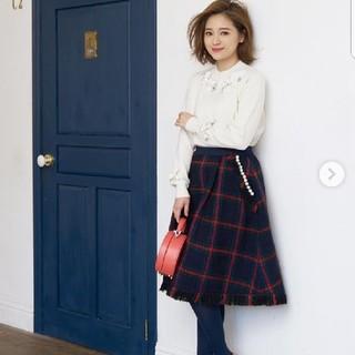 チェスティ(Chesty)の新品chesty ツイードフレアスカート ・ネイビー ・1サイズ(ひざ丈スカート)