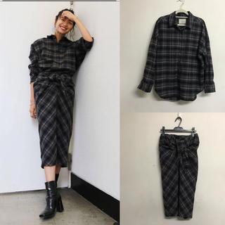 アングリッド(Ungrid)のUngrid ウール混ワイドルーズチェックシャツ & スカート(セット/コーデ)