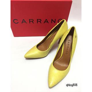 カラーノ(CARRANO)の【新品未使用】CARRANOレザーパンプス36サイズ イエロー(ハイヒール/パンプス)