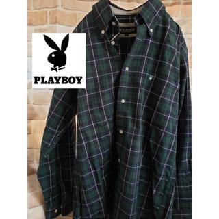 プレイボーイ(PLAYBOY)の【美品】プレイボーイ メンズ チェックシャツ 胸刺繍ロゴ有り 人気(シャツ)