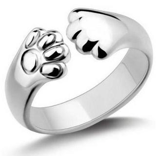シルバーリング 猫 ネコ ねこ グッズ 肉球 リング 指輪 プレゼントに(リング(指輪))