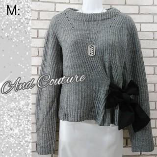 And Couture - M: リボン バルキーニット/アンドクチュール★超美品★杢グレー