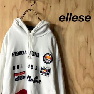 エレッセ(ellesse)の90's ellese トリコカラー ビッグ刺繍 フーディ  パーカー(パーカー)