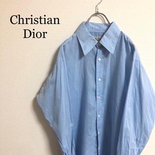 クリスチャンディオール(Christian Dior)のChristian Dior ディオール 長袖シャツ 薄め ブルー ネームロゴ(シャツ)