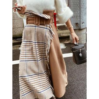 エイミーイストワール(eimy istoire)のフリンジチェックラップスカート 19ss完売品(ロングスカート)