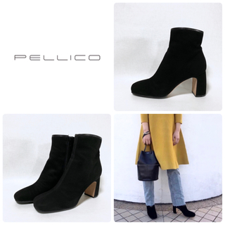 PELLICO - ■定7.5万 PELLICO ショートブーツ 38 24.5 スクエアトゥ 黒