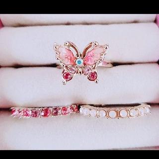 アナスイ(ANNA SUI)の美品♥️アナスイ 蝶 三連リング 10号 バタフライモチーフ(リング(指輪))