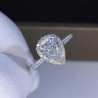 【1カラット】ペアシェイプ  モアサナイト ダイヤモンド リング(リング(指輪))