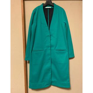 マウジー(moussy)の美品 moussy マウジー ノーカラー 緑 グリーン ロング コート アウター(ロングコート)