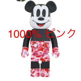 メディコムトイ(MEDICOM TOY)のBE@RBRICK BAPE MICKEY MOUSE 1000% ピンク(アニメ/ゲーム)