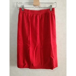 マリークワント(MARY QUANT)のMARY QUANT 赤 ニットスカート♥️ 日本製(ひざ丈スカート)