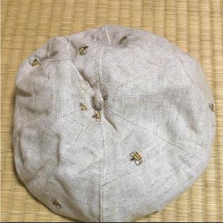 サマンサモスモス(SM2)の新品☆麻100% ミツバチ柄 キナリ ベレー帽(ハンチング/ベレー帽)