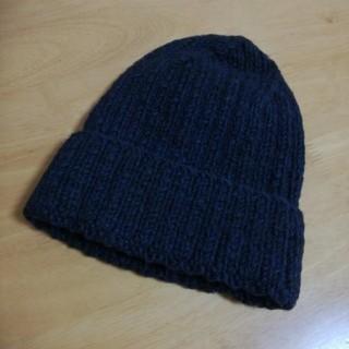 ニコアンド(niko and...)の♪ニコアンド ニット帽 ニットキャップ ブラック×ネイビー♪(ニット帽/ビーニー)