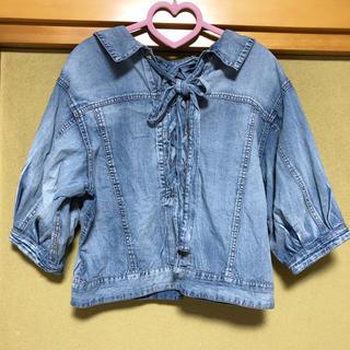ダブルクローゼット(w closet)のwcloset バックリボンデニム羽織り(Gジャン/デニムジャケット)