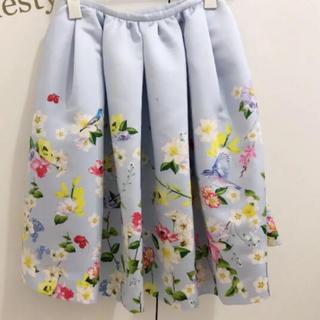 チェスティ(Chesty)のchesty人気商品 ブルー 花柄スカート 美品✨(ひざ丈スカート)