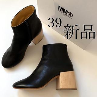 マルタンマルジェラ(Maison Martin Margiela)の新 品 MM6 メゾン マルジェラ ウッドヒール ブーツ ブラック /39(ブーツ)