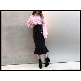 イートミー(EATME)のS☆19AW 秋冬新作 EATME パールボタンマーメイドスカート ブラック(ひざ丈スカート)
