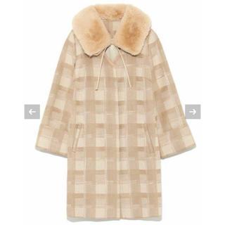 リリーブラウン(Lily Brown)の新品タグ付き!リリーブラウン  エコファー襟付きチェックコート(毛皮/ファーコート)