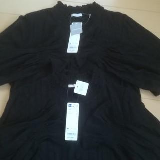 ジーユー(GU)の【新品タグ付き】GU  フリルネックT  2枚セット(Tシャツ(長袖/七分))