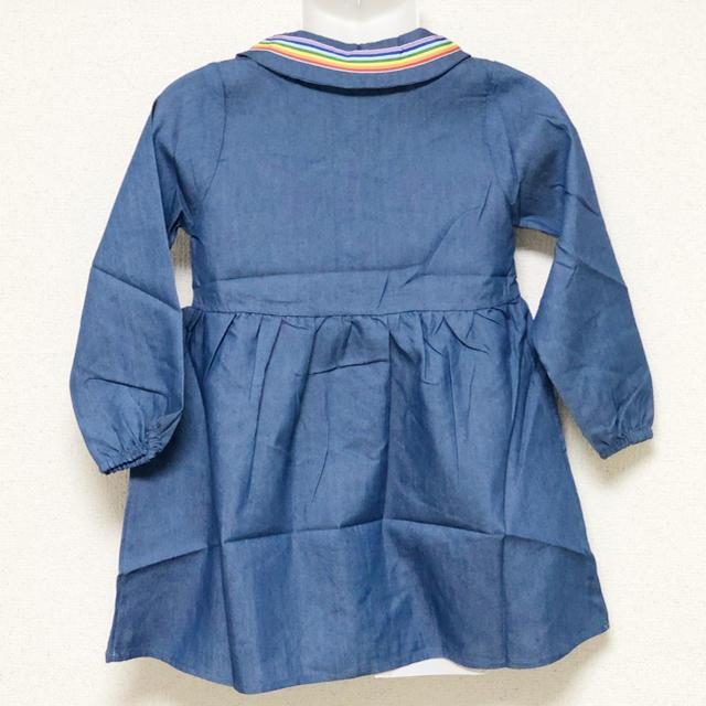 海外子供服 セーラー風 デニム調 シャツワンピース 100 キッズ/ベビー/マタニティのキッズ服 女の子用(90cm~)(ワンピース)の商品写真