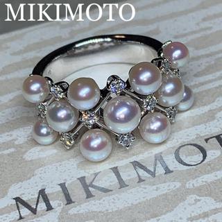 MIKIMOTO - MIKIMOTO K18WGベビーアコヤパールダイヤモンドリング極上あこやパール