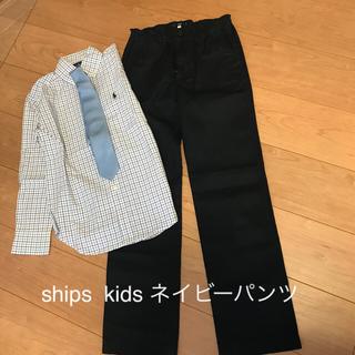 シップス(SHIPS)の数回着☆shipskids S145cmネイビーパンツ チノパン紺色140150(パンツ/スパッツ)