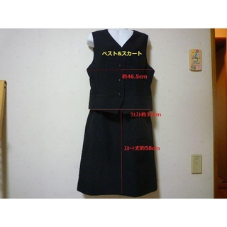 ブラック ベスト&スカートのセット 大きいサイズ(スーツ)