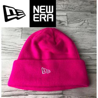 ニューエラー(NEW ERA)のNEWERA ニューエラ ワンポイントロゴ ビーニー ニット帽 ピンク(ニット帽/ビーニー)