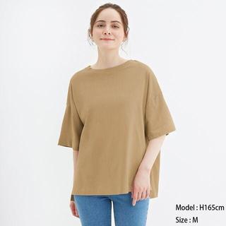 ジーユー(GU)のエアリーT(5分袖)NC GU ジーユー ベージュ(Tシャツ(半袖/袖なし))