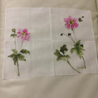 ハンドメイド  綿 手描き布 秋明菊(その他)