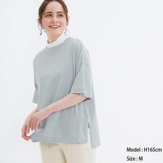 ジーユー(GU)のエアリーT(5分袖)NC GU ジーユー ブルー(Tシャツ(半袖/袖なし))