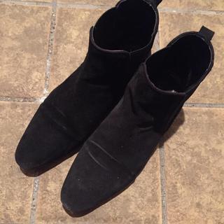 ザラ(ZARA)のザラ フラットブーツ 26.0cm 41 ブラック(ブーツ)