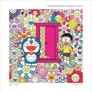 【ポスター】村上隆 ドラえもん展  お花畑の中の「どこでもドア」当選品(ポスター)