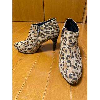 ティティベイト(titivate)のtitivatoアンクルブーツ38豹柄レオパードヒョウ柄美品(ブーツ)