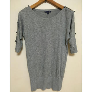 ギャップ(GAP)の綿100% 袖あき グレーニットカットソー GAP(カットソー(長袖/七分))
