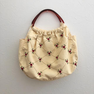 ロキエ(Lochie)のvintage used  flower刺繍bag(ハンドバッグ)