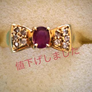 k18 イエローゴールド ルビー リボンリング(リング(指輪))