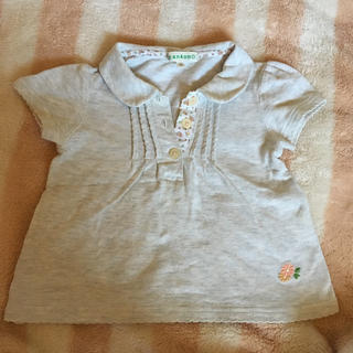サンカンシオン(3can4on)の襟付き 花柄 無地 シンプル ボタン 女の子 80 半袖 花(Tシャツ)