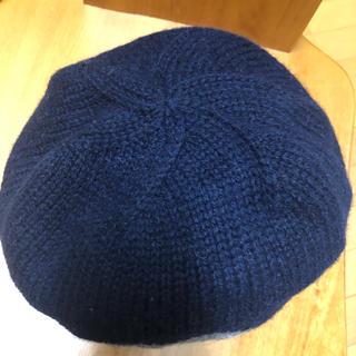 アースミュージックアンドエコロジー(earth music & ecology)のベレー帽 ニット ネイビー(ハンチング/ベレー帽)