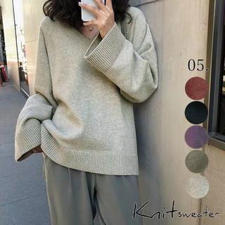 💚【OneSize】ニット Vネック セーター ニットウエア(全5色)(ニット/セーター)