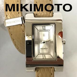 ミキモト(MIKIMOTO)のMIKIMOTO ミキモト 腕時計 時計 レザー 四角形 ベージュ クリーム色(腕時計)