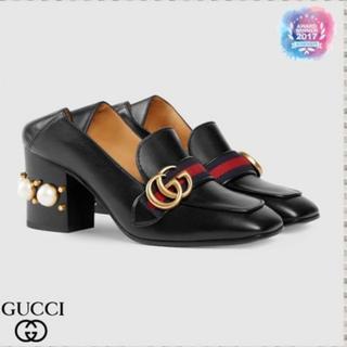 グッチ(Gucci)のGUCCI ミッドヒールローファー ブラック(ローファー/革靴)