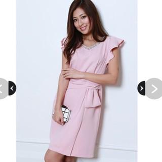 ジャスグリッティー(JUSGLITTY)の美品 ミディアム ドレス ビジュー パーティー パープル ピンク(ミディアムドレス)