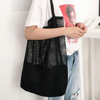 ディーホリック(dholic)の黒メッシュ編みトートバッグ(トートバッグ)