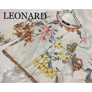 レオナール(LEONARD)のLEONARD 【上品】 花柄 長袖 カットソー ベージュ(カットソー(長袖/七分))