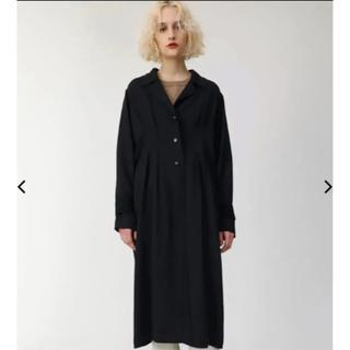 マウジー(moussy)のMOUSSY WAIST TUCK LONG コート新品 ブラック(ロングコート)