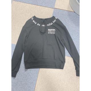 レピピアルマリオ(repipi armario)のチョーカー付き黒Tシャツ(Tシャツ(長袖/七分))