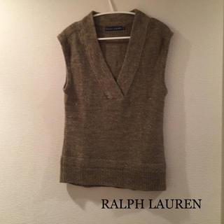 ラルフローレン(Ralph Lauren)のRALPH LAUREN ★ ニットベスト Sサイズ リネン シルク カーキ(ベスト/ジレ)
