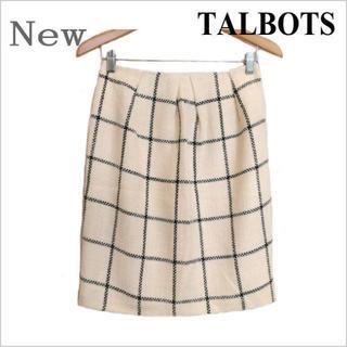 TALBOTS - 新品タグ付き◆タルボット◆オフホワイト黒チェック柄織り込みスカート◆日本製◆4