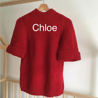 クロエ(Chloe)の美品★クロエ ニット 赤 半袖 ウール100(ニット/セーター)